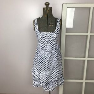 Marc Jacobs Navy & White Pattern Tiered Dress